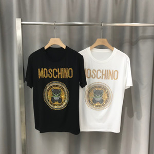 2020ss весной и летом новый высококачественный хлопок печати короткий рукав круглый шею панель T-Shirt Размер: M-L-XL-XXL-XXXL Цвет: черный белый qq32