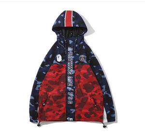 Camuflaje de los hombres Sudaderas con capucha de los hombres Cortavientos Sudaderas con capucha Moda chaqueta de punto Ocio Popular Marca de la solapa japonesa Sudadera con capucha Tamaños M