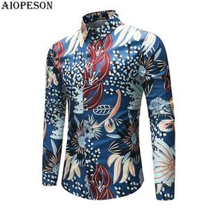 AIOPESON 2018 Nouveau Printemps Eté Homme Tuxedo Shirt Print Tee shirts manches longues hommes Chemise homme intelligent causales Asie Taille M-4XL