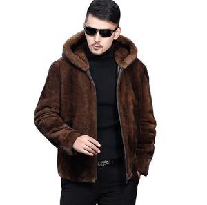 Hommes Automne Faux Mink Veste Manteaux Manteaux d'hiver en cuir épais chaud manteau de fourrure en cuir Vestes Slim Hooded Mode vêtement solide
