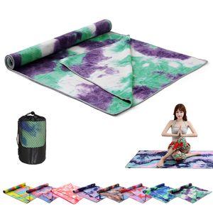 Yoga Mat Print Quick Dry Non-Slip Foldable Yoga Towel Fitness Blanket with Mesh Bag