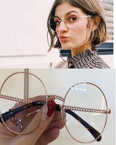 2.186 Ouro Rodada Sunglasses Eyewear colar de corrente Sun Óculos Limpar Lens Mulheres Sunglasses Novo com caixa