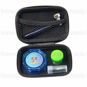 Tobacco Kit Hard Plastic Herb Grinder For Tobacco + Glass Mouth Tip + Non-Sticker Silicone Storage Container Jar + Glass Hadn Pipe