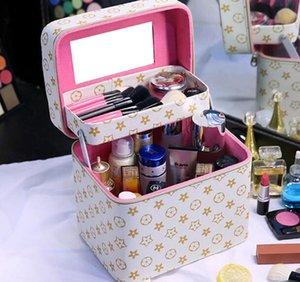 2019 Make-up Tasche mit großer Kapazität multifunktionale Kosmetik Aufbewahrungsbox Herren- und Netto-rot kleine tragbare einfache Box tragbare Frauen