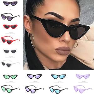 Mode Cateye Sonnenbrillen für Frauen Dreieck Kleine Katzenaugen-Sonnenbrille Kunststoff-Rahmen Klassische Sonnenbrillen Schatten im Freien Strand Sonnenbrillen INS