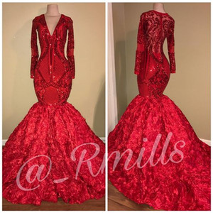 Sparkly Red Mermaid Langarm Abend Pageant Kleider 2019 Reales Bild Sexy V-Ausschnitt 3D Floral Rose Zug African Occasion Prom Party Kleid