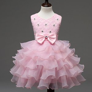 Children's wedding dress show dress bow girls dress the new round coller is removed New style 14