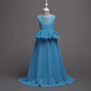 Korean version of Children's Wedding dress in the Big Boy dress Princess dress girl chiffon hot drill Pengpeng skirt 14