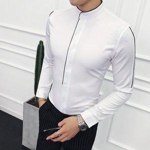 Контрастной окантовкой Стенд воротник рубашки с длинным рукавом Solid Designer Madarin Воротник Slim Fit Камиза Social Masculina Camicie Uomo