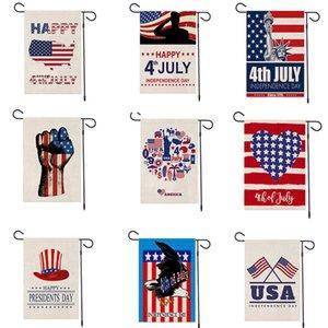 2020 47 * 32 centímetros novo dia da independência americano de linho Bandeira Garden bandeira shuangpian Festival pátio decoração bandeira Happy 4th of July T3I5768