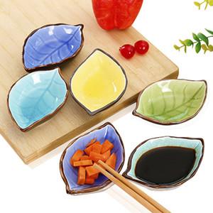 Assaisonnement japonais Plat cuisine vinaigre Assaisonnement plaque Sauce artisanats Feuilles Plaques en céramique Plats sauce japonaise Sushi