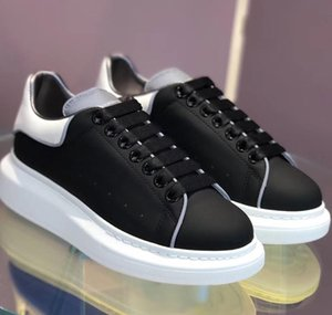 brand shoes men size 35 to 44 black white glow in the dark calf leather lace up sneaker platform shoes women luxury designer sneakers