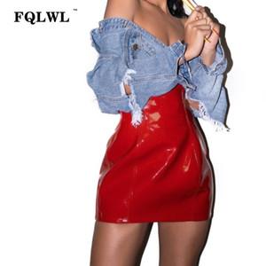Fqlwl Vermelho Macio De Couro Pu Saia Lápis Zíper De Cintura Alta Bodycon Mini Saia Mulheres Jupe Crayon Sexy Clube de Saia De Látex Verão 2018 Y19072001