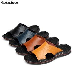 Zapatos Hombre Sandálias Cow Leather De Hombre Big Size Cowhide Sandálias De Playa Playa Men Sandals