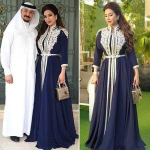 Bleu marine en mousseline de soie musulmane Robes de bal formelles 3/4 manches longues 2021 Arabe Kaftan Caftan Maroc Abaya dentelle Applique robe de soirée