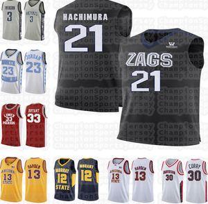 NCAA 21 Rui Hachimura 33 Bryant jersey LeBron 23 james High school 23 Michael James 13 Harden Gonzaga Bulldogs University jersey