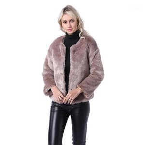 Tripulação Designer Neck casaco quente Moda Mulheres Coats Mulheres Faux Fur Coats Moda Outono Inverno New Arrival