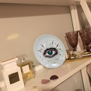 Big Eye Starry Sky decorativa cerâmico redondo Dish Cat Head Jóias de armazenamento Dish Artístico Sky Eye placa de forma colorida