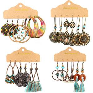 여성 보헤미안 민족 스타일 Dreamcatcher 귀걸이 꼰된 술 귀걸이 기하학적 매립어 귀걸이 패션 쥬얼리 3 쌍 / 세트