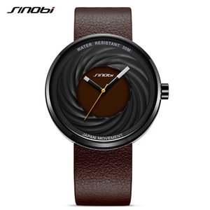 Sinobi Fashion Watch Women Big Dial New Creative eddy Design High Quality Leather Strap White Watches Casual relojes para mujer