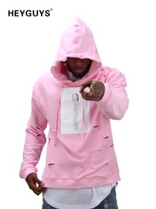 2019 hot mens hip hop pink hoodies sweatshirts tracksuit men with the hole hoodies men fashion set winter male street wear Y200704