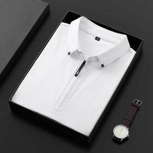 BROWON Летняя мода 2019 Мужские Tshirts Лето Хлопок T Shirt Мужчины с коротким рукавом отложным воротником Корейский стиль для мужчин майка