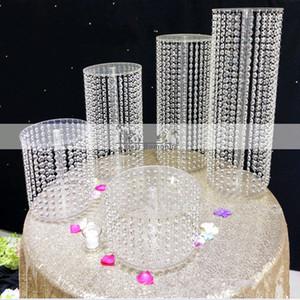 New Hot Luxury Cristal Acrílico Stand Cake Wedding Table Top Decoração Centerpieces Bolo de exibição Para Birthday Party Supplies