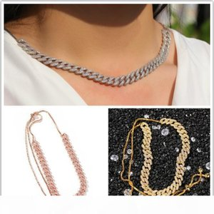 New Fashion Luxury Designer Womens Rose Gold Cuban Link Chain Adjustable Necklace Cubic Zirconia Bing Choker Long Chains Jewelry for Women