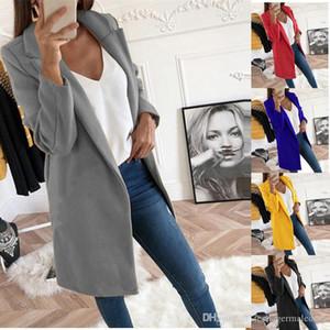 Le donne cappotti di inverno solido di colore a maniche lunghe risvolto collo lungo di lana Womens Fashion Coats Cappotti Designer