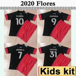 2020 ARRIOLA KAMARA FLORES enfants Kit DC Soccer Jerseys New C.C. United GRESSEL Accueil Chemise noire de football à manches courtes Uniformes Jersey