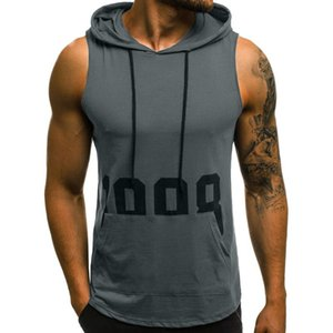 Men shirt Tank Tops Men Fitness Muscle Print Sleeveless Hooded Bodybuilding Pocket Tight-drying Tops Summer Shirt For