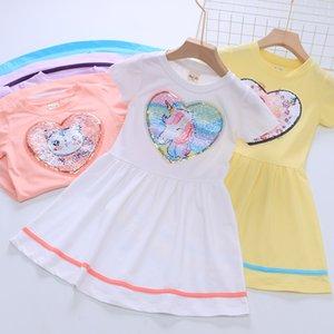2020 Factory Direct 19 estate delle nuove ragazze cotone a maniche corte Stitching Dress neonate cambia colore paillettes principessa Dress