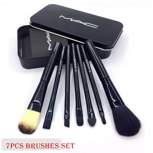 M AC 7pcs cepillo del maquillaje Foundaiton compone cepillos pinceaux de maquillage Set con caja de metal Embalaje