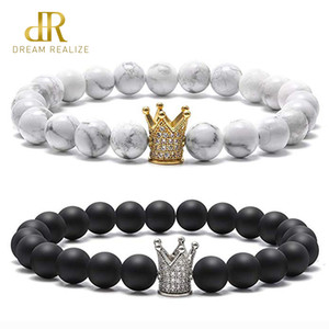 Kadınlar Erkekler Charm Mesafe 8mm Siyah Mat Beyaz Hovlit Çiftler Bilezik Lover için DR CZ Taç Kral Kraliçe Doğal Taş Bilezikler