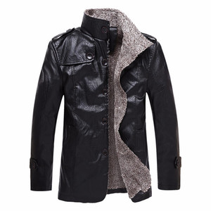 Longas Styles Mens Designer Leather Jacket casaco grosso de Inverno Mens Moda Quente Luxo PU Leather Jacket