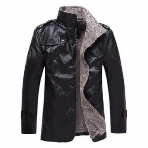 مصمم رجالي سترة جلدية طويلة أنماط الشتاء سميكة معطف أزياء الرجال الدافئة فاخر PU سترة جلدية