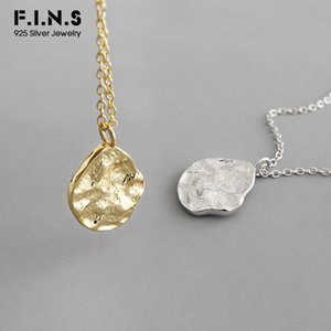F.I.N.S Korean S925 Sterling Silver Necklace Irregular Uneven Surface INS Style Necklace Pendants for Women Silver 925 Jewelry