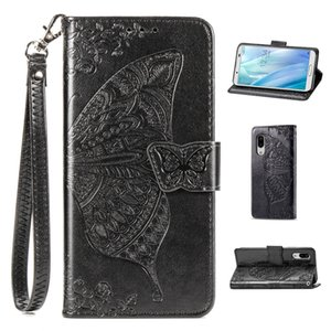Portatarjetas de la carpeta del cuero telefono Caser cubierta para el Sharp AQUOS Sense Lite 3 de la PU de la flor de mariposa con correa de mano (Modelo: Sense3Lite)
