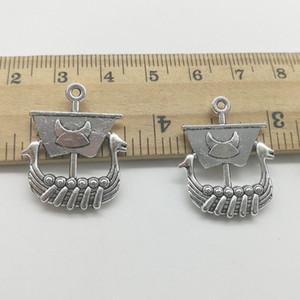 En gros 80pcs dragon boat antique argent charmes pendentifs bijoux DIY pour collier Bracelet boucles d'oreilles Style rétro 26 * 21mm