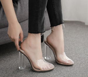Alluring2019 Chilly Clear Breeze Fund Sexy Film High Crystal With Slipper Sandals 193-29