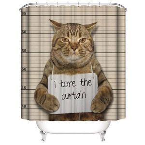 Lindo divertido de la natación de los gatos toman baño de la miel Garras impermeable Tore las cortinas de ducha de impresión digital 3D Cortinas de baño con los anillos
