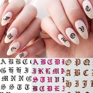 1pc Gothic Buchstabe 3D Nail Sticker Rose Gold Wörter Nail Slider Abziehbilder anhaftender Aufkleber Tipps Maniküre-Kunst-Dekoration