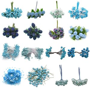Materiali dono tecnologia di miscela di stile del blu artificiale Stame Cherry bacche Wedding Bouquet Decorazioni di Natale fai da te Corona