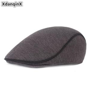 XdanqinX Orta yaşlı Erkek Şapka Kalın Erkekler Chapeau d'homme Katı Klasik Erkek Kemik Markalar Cap babamın Hat İçin Kış Berets Isınma
