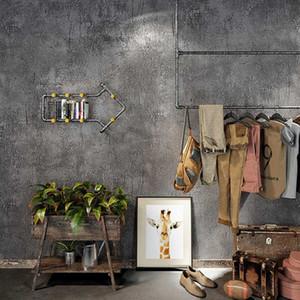 천 가게 빈티지 산업 일반 솔리드 벽지 홈 인테리어 양각 가짜 콘크리트 벽 회색 벽 종이 롤스