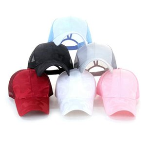 Camouflage Pferdeschwanz Baseballmütze Fest Farbe Breathable Sun Light Color Printing Kappen Mesh Cap Unisex Outdoor Sports Hut 60pcs JLLP45-1