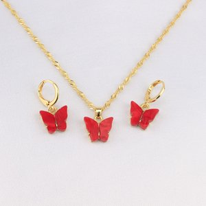 2020 Fashion New Two-piece Multicolor Butterfly Charm Pendant Earrings Necklace Jewelry Sweet Necklace Set Couple Jewelry Best Holiday Gifts