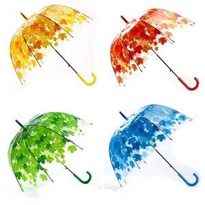 Mulher Guarda-Chuva Transparente Guarda-Chuva fresco PVC cogumelo verde folhas Arch Guarda-Chuva criança longa Guarda-Chuva T2i5546