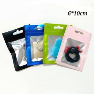 6 * 10cm Sacs d'emballage à serrure ZIP, Sac d'emballage à fermeture à glissière d'épicerie, pochettes en plastique mat avec fenêtre claire 4 couleurs aluminium feuille