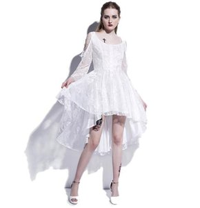 Gothic Dress asimmetrico Black Lace Hollow Fashion Vestito casual Donna Streetwear Preppy Dark Sexy Mod Goth